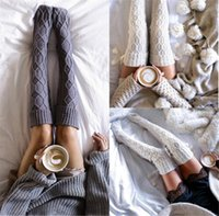 Socks & Hosiery Woman Wool Braid Cable Knit Over Knee Stockings Boot Thigh Highs Hose Twist