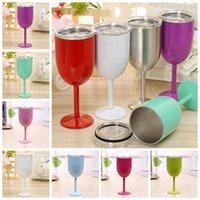 10oz copos de vinho de vinho de aço inoxidável tumbler sem fios tumbler tumbler copos de vinho tinto com tampas caneca de cocktail cores sólidas DIY Cup 11 cores RRA4355