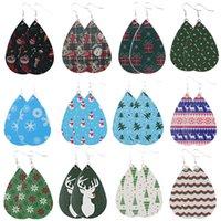 PU Leather Teardrop Dangle Chandelier Christmas Earrings Snowman Snowflake Deer Pattern Big Drop Earings Men Women Fashion Jewelry Wholesale