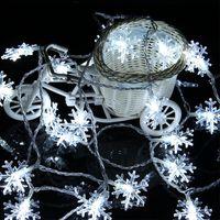 6M 40LED Снежинки Струна огни Снежная Фея Гирлянда Украшение Для Рождественской елки С Новым годом Сказочная батарея Света на складе