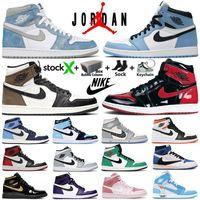 Kutu Stok Fotoğraf X Nike Air Jordan 1 Yüksek OG Jumpman Retro 1 S Erkek Basketbol Ayakkabıları Hiper Kraliyet Üniversitesi Mavi Obsidiyen UNC Karanlık Mocha Top 3 Kadın Sneakers Eğitmenler