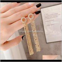 Chandelier Jewelrylong Tassel Dangle Earrings Women Trendy Korean Style Sweet Lovely Druzy Big Crystal Circle Square Earings Fashion Jewelry