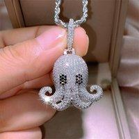 Hip Hop Damenmode Schmuck Punk Octopus Anhänger 925 Sterling Silber Voll Pavw Weiß Saphir CZ Diamant Edelsteine Party Twist Kette Hochzeit Halskette Geschenk