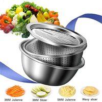 3 in 1 Vegetable Slicer Cutter Drain Basket Kitchen Tools Stainless Steel Vegetables Julienne Grater Salad Maker Bowl