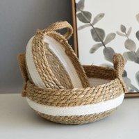 Cestas de Armazenamento Woven Seagrass Flor Pots Desktop Sundries Book Organizador Caixa Decorativa Plantador Cesta Panier Para Crianças Brinquedos