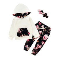 Clothing Sets Born Baby Boys Girls Clothes Floral Print Pullover Hooded Tops+Pants+Headbands Outfits 3 6 12 18 24 Months Vestido