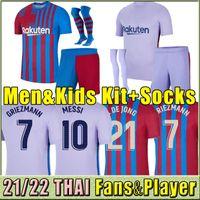 Версия игрока Барселона Таиланд Барсент Футбол Джерси Барка 22 22 CamiSeta de Futbol Ansu Fati 2021 2022 Messi Griezmann F.de Jong Mailoots de Men Kits Kit Set Set
