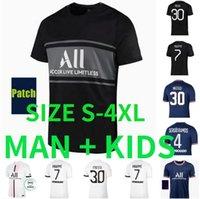 S-4XL Messi Paris Soccer Jerseys 21 22 Sergio Ramos Hakimi Maillots De Football Shirt 2021 2022 Di Maria Neymar Mbappe Wijnaldum Men Kit Kit Uniform Enfants XXXL
