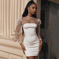 Casual Dresses BKLD White Glitter Sequin Mini Dress Womens O-neck Sexy Transparent Mesh Patchwork Long Sleeve Party Short Autumn 2021