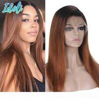 Omber Brasilianer Gerade Jungfrau Haarspitze Front Front Human Hair Perücken 1b 33 # Ombre Human Perücke Geradefarbene Perücken