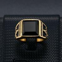 Klassischer Ring Titan-Stahlfarbe, die vergoldete schwarze Achat-Masonic AG-Männer Ringw91s erhalten