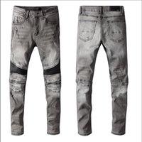19s Jahre Herren Designer Jeans Reißverschluss zerrissen zerstörter Stretch Slim Fit Hop Hose mit Löchern Jean
