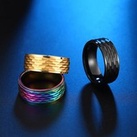 Cluster Rings Wholesale Colorful Mens Stainless Steel Fashion Golden Honey Pattern Ring Friend Black 2021 Gifts For Male Accesories