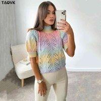 Taovk Tie Day Swied Suéter Rainbow Kawaii Jersey Mujeres de manga corta O-Cuello Outwear Outwear Femenino Dulce Top Jersey