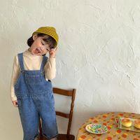 Комбинезоны Bobotcnuunu Дети мальчики Девочки без рукавов прямые комбинезоны твердые ковбойские брюки весна осень 2021 мода