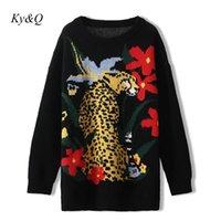 Marka Tasarım O-Boyun Gevşek Tembel Vinatge Siyah Leopar Desen Kazak Üst Giysileri 2021 Örgü Kazak Kadın Ceket Kadın Kazak