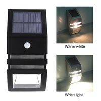 مصابيح الجدار في الهواء الطلق أدى ضوء الشمسية البير الاستشعار الحركة للحديقة الفولاذ المقاوم للصدأ الطوارئ ليلة مصباح 2 حزمة 4 و 10