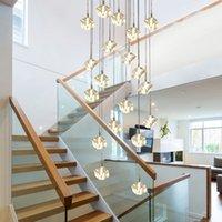 Modern LED Square Crystal Ball Chandelier Iluminação Hotel Lobby Sala de estar Decoração Espiral Escadaria Candelabros Pendurado Lâmpadas
