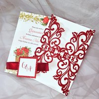 Red Glitter Wedding Invitation With Tag And Ribbon DIY Personalized Printing Laser Cut Cards For Bridal Shower Anniversary Party