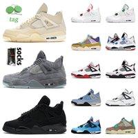 En Kaliteli 4 S Basketbol Ayakkabı Jumpman Kaws Gri Yelken Kara Kedi Hava Ürdülü 4 Erkek Kadınlar Yeşil Metalik Yangın Kırmızı Üniversitesi Mavi Ne DIY Off Retro Sneakers 36-47