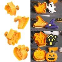 4pcs / Set FAI DA TE 3D Biscotto dei cartoni animati Muffa di Biscotto di Halloween Bambini per bambini Strega Silicone Biscotti tridimensionali Stampi Home Cucina Forniture G89xo8T