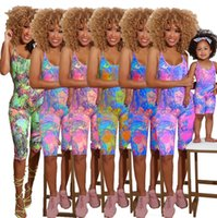 Family matching outfits girls colorful printed jumpsuit mother suspender shorts jumpsuits mommy and me clothing A6788