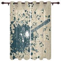 Изысканные домашние шторы гитара музыкальные ноты синий ретро гостиная спальня кухня полупрозрачный полиэстер декоративный занавес драпировки