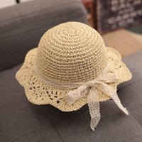 Summer Lace Bow Knitted Hat Kids Beach Hats Girls Boys Outdoor Grass Braid Sun Cap Child Fisherman Visor Caps LLA666