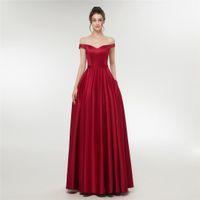 우아한 붉은 이브닝 드레스 어깨 신부 가운 새틴 크리스탈 새시 지퍼 뒤쪽에