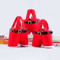 Santa byxor stil Juldekorationer Presentkassar godisväskor Julklappar Korg Candy Tote Bags för Party Home Decor
