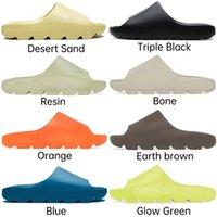 2021 Slaytlar Kemik Reçine Çöl Kum Tasarımcısı Terlik Yaz Moda Toprak Kahverengi Düz Slayt Erkekler Kadınlar Plaj Nedensel Sandalet Boyutu EUR36-45
