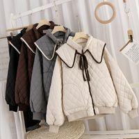 Winter Korean Style Loose Lapel Design Sense Retro Sweet Rhombus Thick Cotton Long-sleeved Women's Jacket Jackets