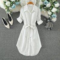 Casual Dresses Hebe&Eos Korean For Women Elegant Long Sleeve Femme Striped Shirt Dress Paty Chic White Bule Vestidos