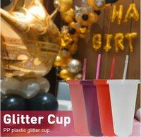 Glitez Polvere lucida Bicchieri con paglia e coperchio Riutilizzabile Plastica Eco-friendly Bibita non tossica Tazza Cucina Drinkware FY4493