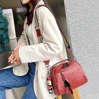 Evening Bags Real Leather Female Bag Rivet Wide Shoulder Canvas Strap Women's 9 Color In Stock Crossbody Designer Handbags Tote
