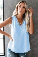 Summer women's base vest T-shirt 2021v collar eyelash lace sleeveless loose top