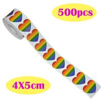 500 الحب rainbow الشريط ملصقات مثلي الجنس فخر 6 اللون المشارب القلب شكل لفة الشريط N1HE 919 Q2