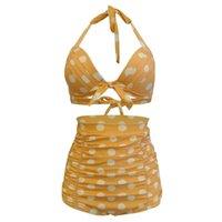 One-Piece Suits 2021 Printed High Waist Two Pieces Bikini Set Swimsuit Female Women Beachwear Swimwear Bather Bathing Suit V-neck Bra