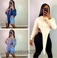 2021 Irregular Women's Clothing Solid Color Fashion Hoodies Sweatshirt Women Hooded Pullover Outwear