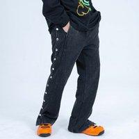 Yüksek Sokak Yan Düğmesi Yıkanmış Rahat Pantolon Erkekler Ve Kadınlar Düz İpli Gevşek Ter Pantolon Hip Hop Pantolon