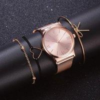 Designer Brand Brand Orologi Fashion 4pcs / Set Dress Donne Donne Rose Gold Es Ladies Polso Femminile Orologio al quarzo Braccialetto Reloj Mujer