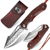 Forged Damascus Steel Folding Knife Pocket Wooden Handle EDC Tool Outdoor Camping Multi-purpose KnivesSurvival Hiking Mountaineering Fishing Equipment