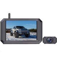 Joueur 5 pouces Système de caméra de sauvegarde sans fil numérique 1080p Vue arrière HD Vue arrière IP68 Caméra imperméable, pour camion CAMPER voiture DVD