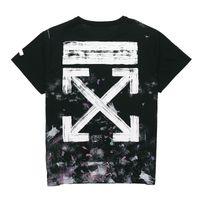 2021 Yüksek Kalite Kapalı Erkek T Gömlek Kısa Kollu Havai Fişek Yıldızlı Gökyüzü Graffiti OW Erkekler ve Kadınlar Aynı Gevşek Yuvarlak Boyun T-shirt Yarım Kollu Gelgit Marka Beyaz Giyim