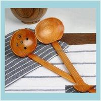 Cocina de cubiertos, Comedor Bar Home Gardenwooden Tortuga Sopa Colador Madera Vajilla Japonés Estilo Ramen Madera Manera Larga Pot Spoons Crea