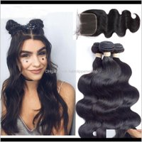 Wefts Productsbrazilian Virgin Extensions 3 Bundles Brazilian Body Wave With 4X4 Lace Closure Unprocessed Remy Human Hair Drop Delivery 2021