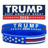 US STOCK PARTÔNE FAVORIS FAIRE DE LA Trump 2024 Bracelet en silicone Noir Bleu Bracelet rouge 4 couleurs