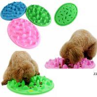 3 colores mascota perro cachorro silicona lento comiendo cuenco anti choking alimento plato de agua lento HWD10023