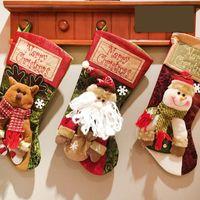 Christmas Stocking Gift Bag Santa Claus Snowman Socks Candy Bags natal Xmas Tree Gifts WY1376