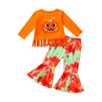 Euro American Girl Kleidung Set Halloween Smile Kürbis Quaste T-shirt + Flare Pants Kinder Cosplay Kleidung Zwei Stück Sets